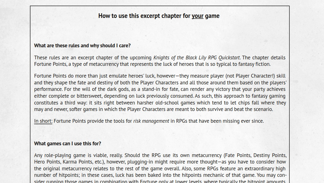 Excerpt Chapter on Fortune from the Knights of the Black Lily RPG Quickstart